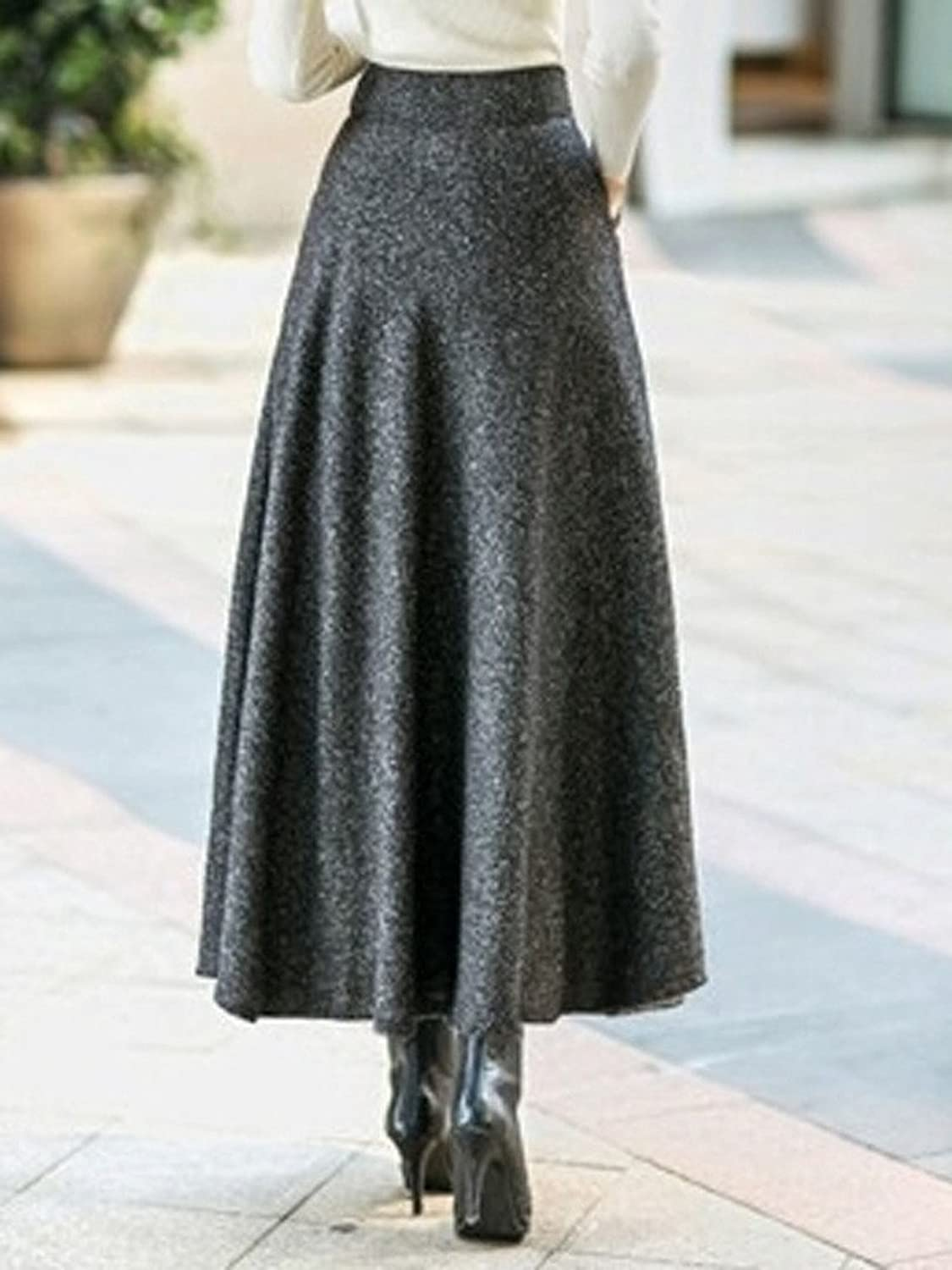 1920s Skirt History CR Womens High Waist A-line Flared Long Skirt Winter Fall Midi Skirt $27.99 AT vintagedancer.com