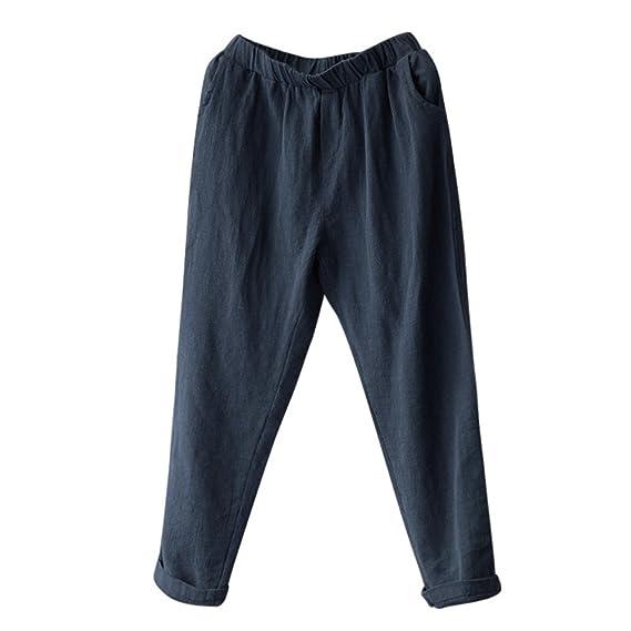 Mujer Ovinee Pantalones Mujer Tallas Grandes De Lino Pantalones Harlan De Sueltos Damas Ocasionales Ropa Leitingcuisine Com