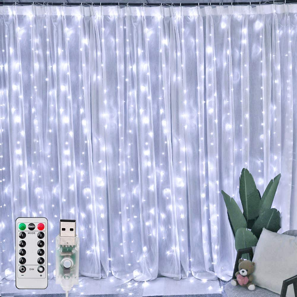 Ollny Curtain Lights 304 LED 9.8Ft9.8Ft Cool White Fairy Lights with 8 Modes and Remote USB Powered String Light Plug in for Wall Decoration and Girl Bedroom Children Indoor Outdoor Christmas Party