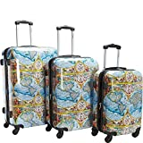 Chariot Orbis Terrarum Atlas 3-Piece Hardside Tsa Lock Spinner Luggage Set, Color Map For Sale