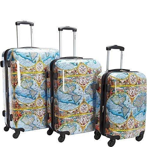 Chariot Orbis Terrarum Atlas 3-Piece Hardside Tsa Lock Spinner Luggage Set, Color Map