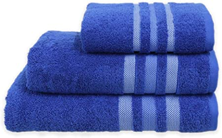 SSP Juego de 3 Toallas de Mano de 500 g/m², Toalla de baño, Toalla de Playa, Toalla de baño Personal, 100% algodón Egipcio, Rayas sólidas, Azul Rey, Azul, Pair Bath Towels: Amazon.es: