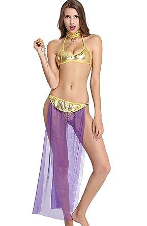 65554b4c53fc KamX Women's Net and Lace Lingerie Underwear Harem Set Costume (Purple,Free  Size)