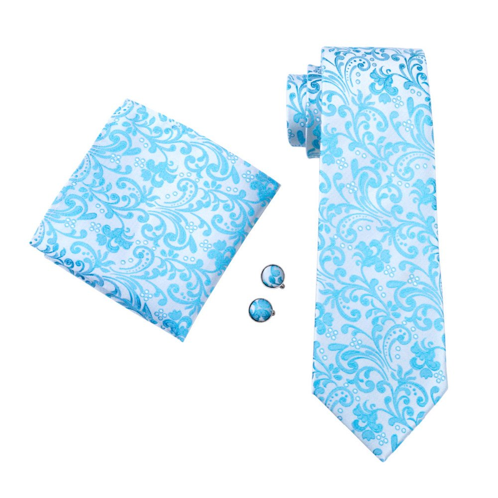 Paisley zweifarbig Seide Krawatte Set Binder Schlips Hochzeit Einstecktuch Manschettenknöpfe Krawattenset