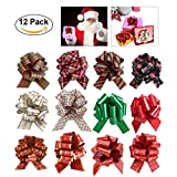 SKINOSM Pull Bows for Christmas Decoration and Gift Wrap (12 Pieces with Different Patterns)