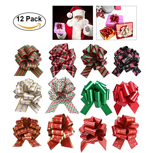Price 12 Pull Bows (SKINOSM Pull Bows for Christmas Decoration and Gift Wrap Double-Sided Pattern Gift Bows (12 Pieces with Different Patterns))