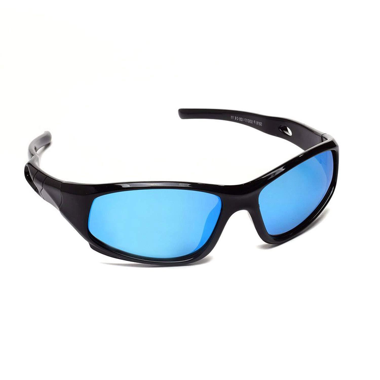 AODUOKE Sports Polarized KIDS Sunglasses For Boys Girls Children Mirrored Lens Sunglasses With Strap (Black | Blue Lens)
