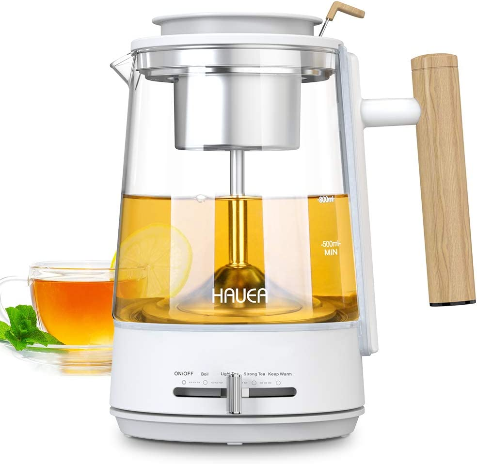 HAUEA Electric Kettle for Tea Hot Water 1L Glass Tea Pot with Removable Stainless Steel Strainer 4 Modes Pour Over Tea pot Water Heater, Auto-Shutoff and Boil-Dry Protection