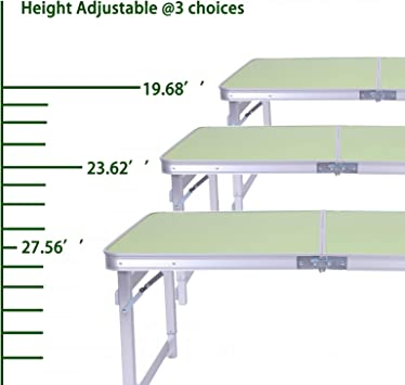 Zelphane Upgraded 4 Feet Alu Camping Table Hight Adjustable Sturdy Portable Picnic Table for Camping Outdoor Party BBQ Light Green