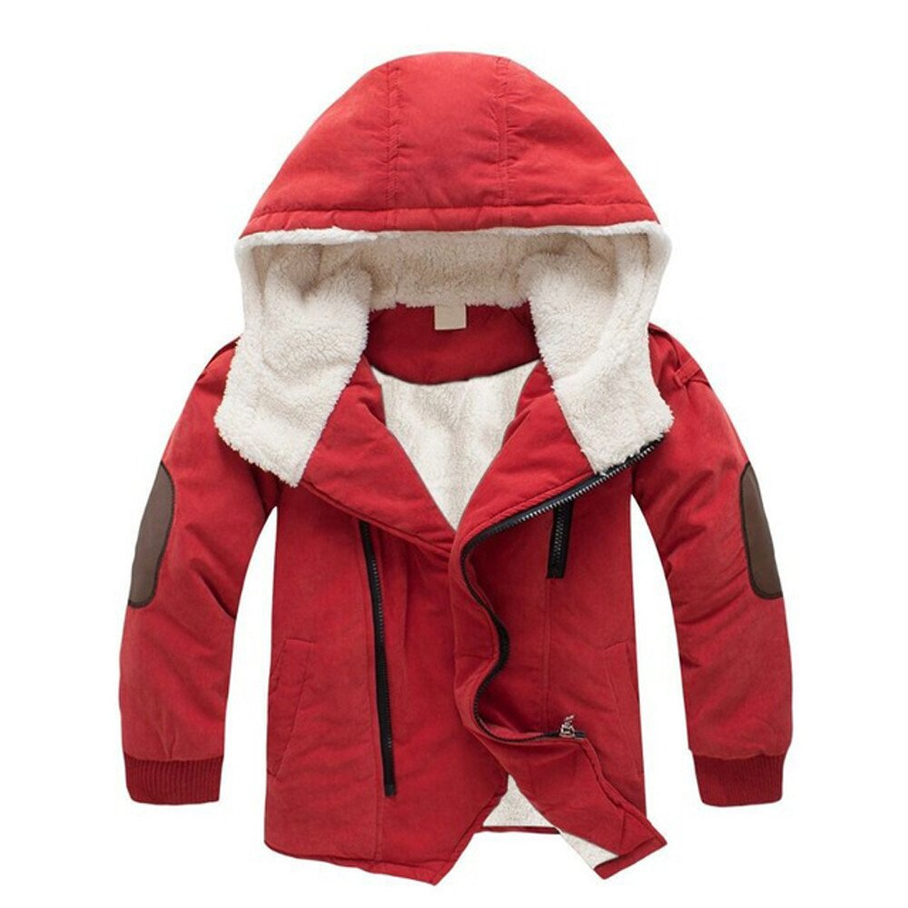 iZHH Kids Jackets Boys Hooded Outerwear Thick Warm Winter Jacket Clothing(Orange,6-8T)