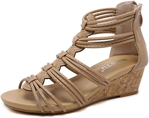 Womens Mid Wedge Heel Sandals Leather
