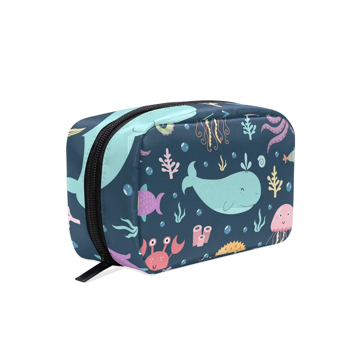 Unicey Sea Creatures Underwater Makeup Bags Portable Tote Cosmetics Bag Travel Cosmetic Organizer Toiletry Bag Make-up Cases for Women