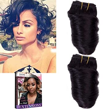 Emmet 8inch Brazilian Loose Wave Spring Curly Hair Weaves For Bob Wave 2pcs Lot 50g Pc 100 Human Hair Bob Wave Weft With Hair Care Ebook 1b