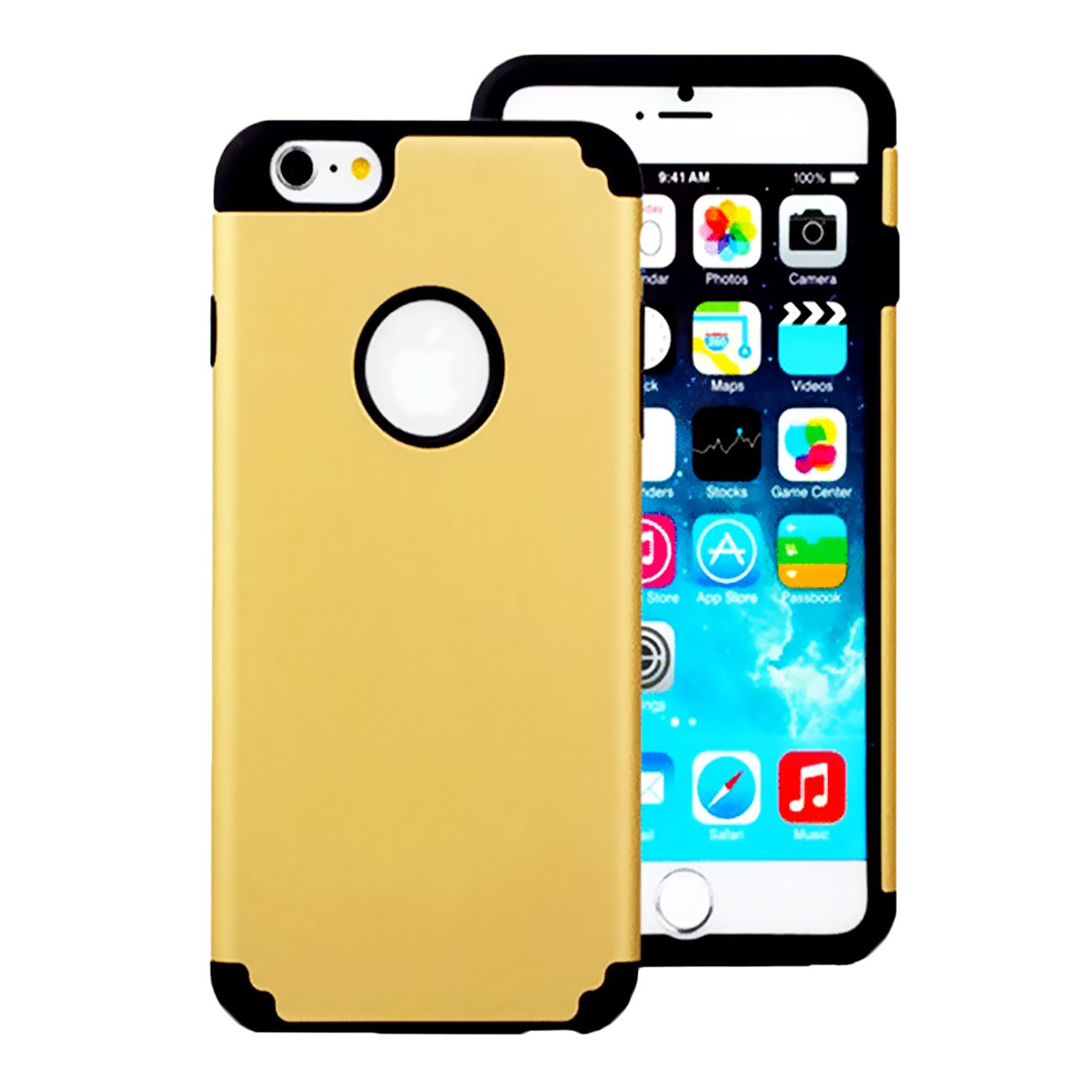 iPhone 6 Plus/6S Plus Case, iEugen Heavy Duty Slim Fit Shockproof 2 in 1 Hybrid Hard PC & Soft Rubber TPU Case for iPhone 6 Plus/6S Plus (5.5