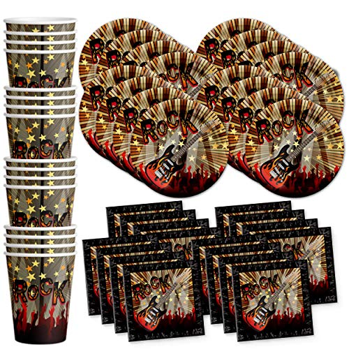 Birthday Galore Rock Star Party Supplies Set Plates Napkins Cups Tableware Kit for 16 ()