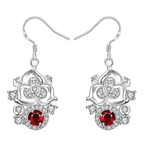 cc057580689f KNSAM - Pendientes Mujer Flor Vintage Redondo Rojo Cristal Bañado con Plata  925 Aretes para Novias  Amazon.es  Joyería