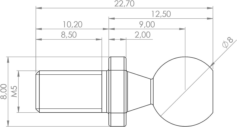 Kugelzapfen din 71803 forma c 8mm m5 acero galvanizado gewindezapfen superficie clave