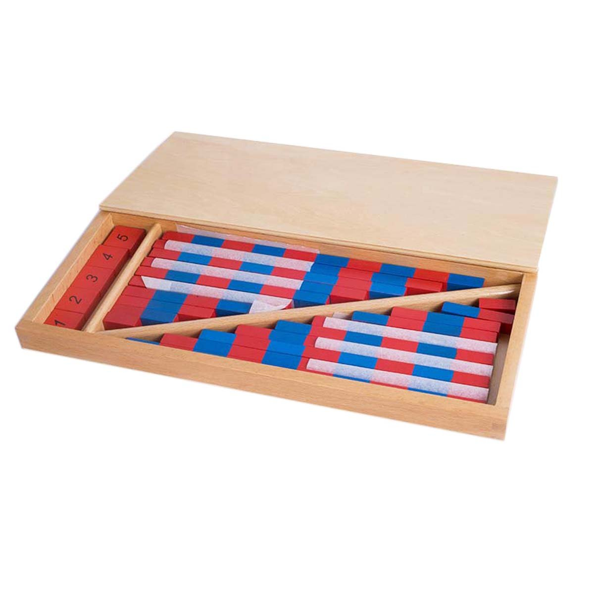 Montessori Mathematics Material - Small Numerical Rods with Number Tiles Blue Red Color W/ Wooden Box For Preschool Kids Early Development Toy