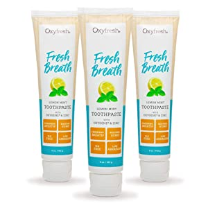 Oxyfresh Maximum Fresh Breath Lemon Mint Toothpaste |SLS & Fluoride Free w/Natural Essential Oils & Xylitol – Aids Dry Mouth (3-5 oz Tubes)