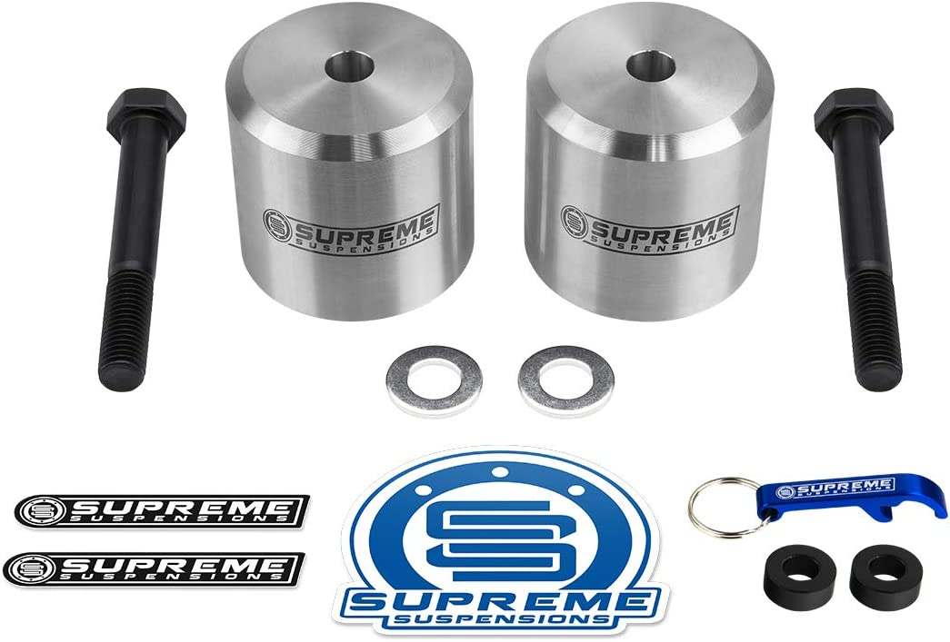 Silver Supreme Suspensions Front Lift Kit for 2005-2020 Ford F250 F350 Super Duty 4WD Leveling Kit 2.5 Front Lift Aircraft Billet Coil Spring Spacers