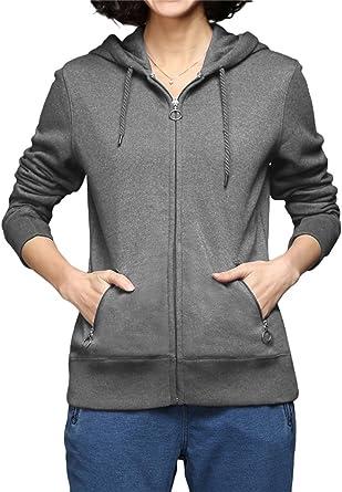 Luna et Margarita Sweat à Capuche Femme Classique en Molleton Zippé Devant en GrisBordeaux Collection Top Sweat Shirt