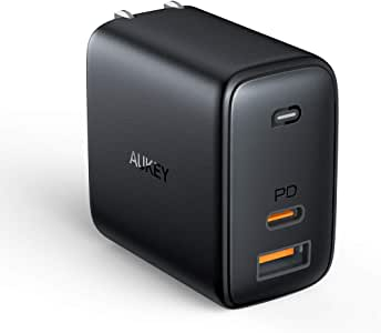 USB C Charger AUKEY Fast Charger 65W PD 3.0 with Dynamic Detect [GaN Power Tech] PD Charger, USB C Wall Charger Dual Port for iPhone 11 Pro Max, AirPods Pro, Google Pixel 3 XL, LG G7, Samsung, Huawei