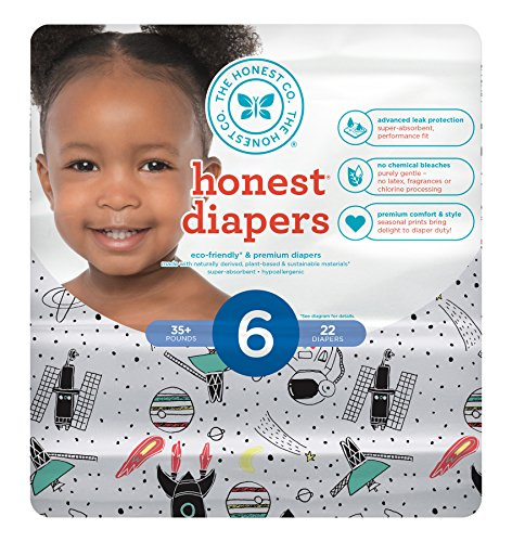Honest Baby Diapers, Space Travel, Size 6, 88 Count