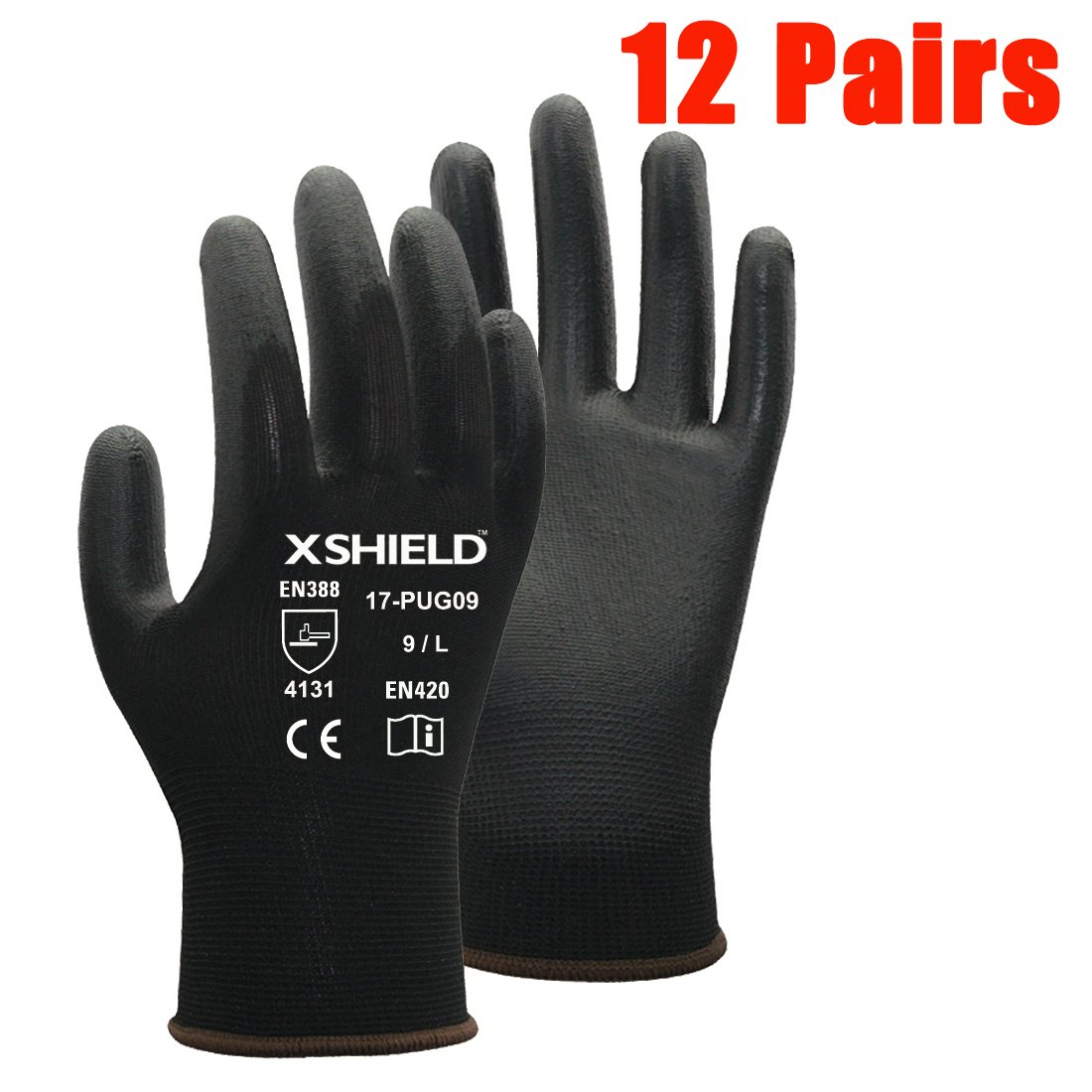 XSHIELD 17-PUG,Polyurethane/Nylon Safety WORK Glove,BLACK,12 Pairs (Medium)