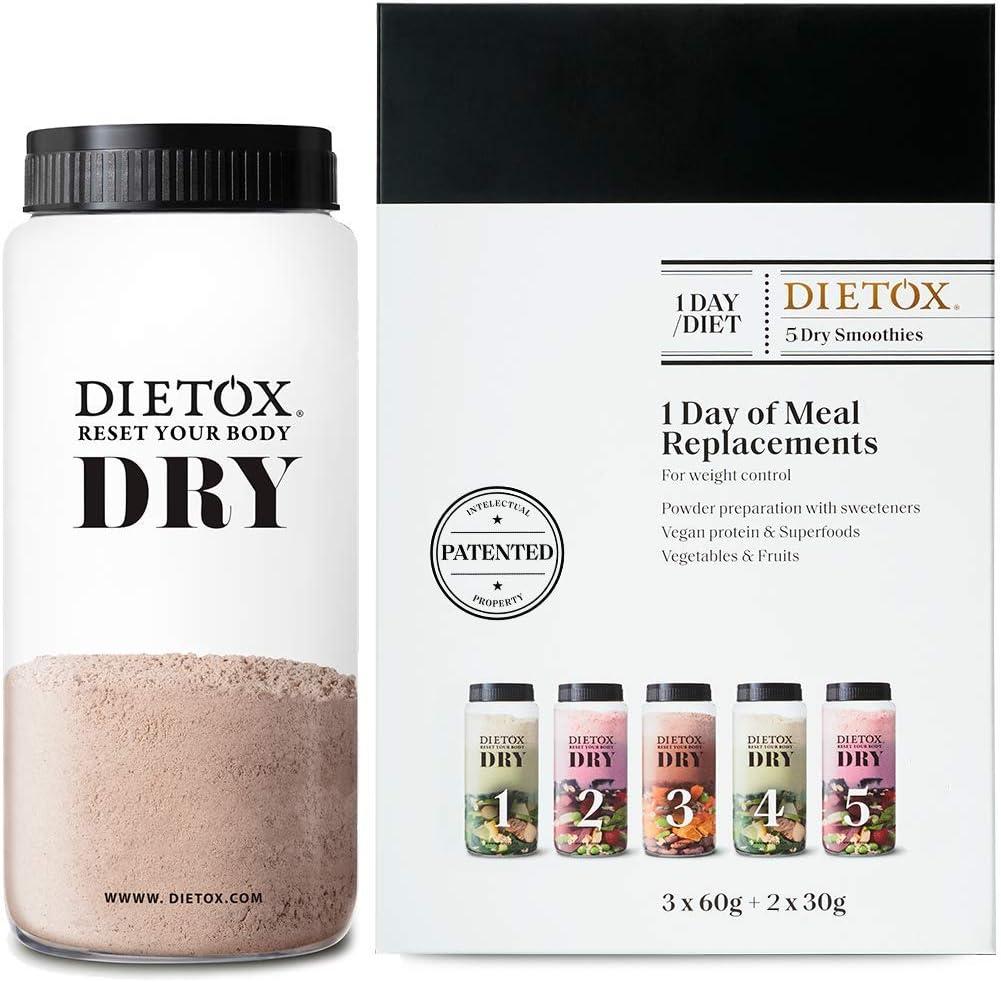 Dieta Completa Dietox DRY   1 día completo de sustitución a base de batidos de proteína vegetal. (3 comidas principales + 2 snacks)