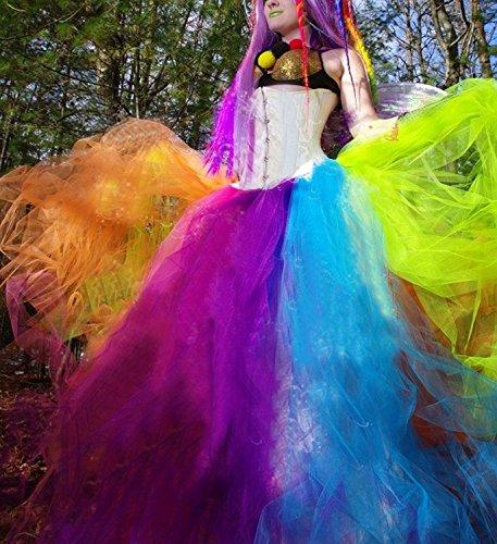 42b3d30d1a31 Izanoy Damen Regenbogen Tutu Petticoat Rock Lang Krinoline Unterrock Slip