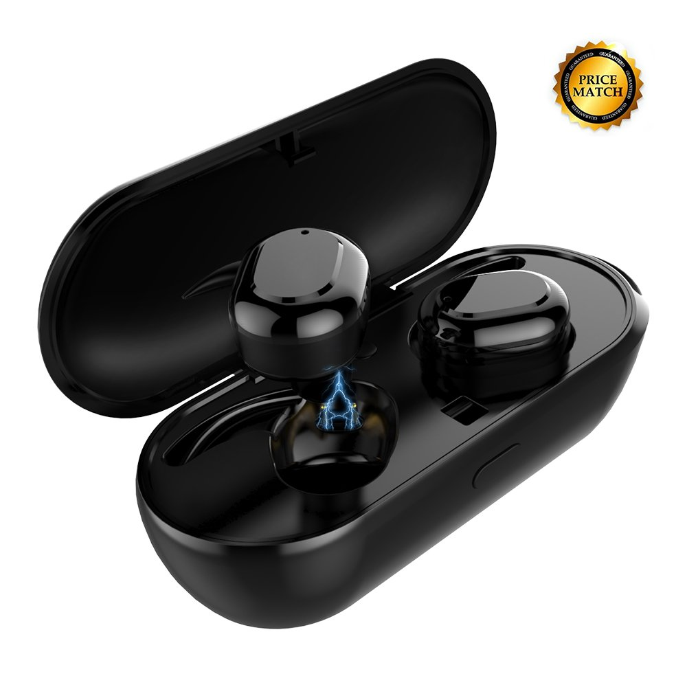 True Wireless Earbuds (2018 Upgraded Version) Meidong Stereo Bluetooth Headphones Sweatproof Sports in Ear Earphones with Portable Charging Box and Built-in Mic for iPhone Samsung Laptop