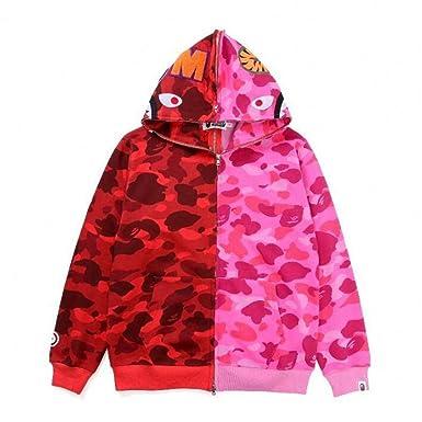 5f79c9acc9497 Amazon.com: Mulynn Bape Fashion Colorblock Camo Casual Loose Zipper Hoodie  Jacket for Men/Women: Clothing