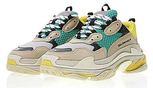 Balenciaga Triple S Sneakers Beige Green Yellow Balenciaga Mujer Hombre Zapatillas: Amazon.es: Zapatos y complementos