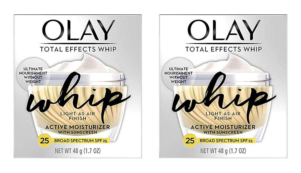 (PACK of 2) ΟΙay TOTAL EFFECTS WHIP, Active Moisturizer with SUNSCREEN Broad Spectrum SPF 25-1.7 Oz (48 g) EACH - Light as Air Finish