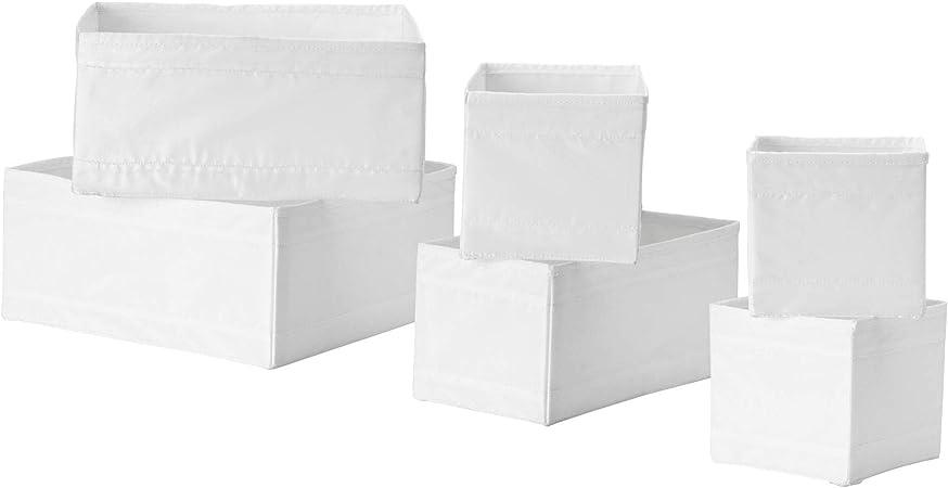 IKEA SKUBB - Juego de 6 cajas para organizar calcetines, cinturones y joyas en tu armario o cajonera (color blanco): Amazon.es: Hogar