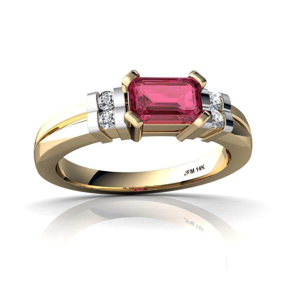 14kt Yellow Gold Pink Tourmaline and Diamond 6x4mm Emerald_Cut Art Deco Ring - Size 7.5