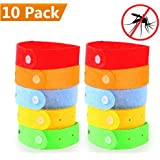 Natural Mosquito Repellent Bracelets Band [10 Pack] - Natural Deet-Free Insect Bug Repellent Bands,Non-Toxic Safe For Kids,Indoor Outdoor Protection,Protection Up To 300 Hours - mixed color