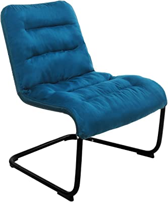 Zenree Comfortable Bedroom Chairs - Folding Reading Chair - Padded Comfy Lounge Chair with Soft Cushion for Living Room/Apartment / College Dorm Blue