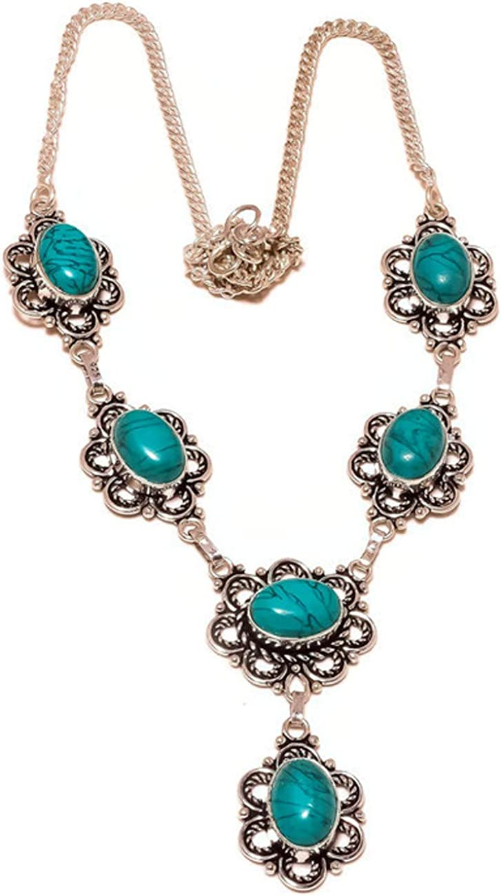 Green Turquoise Oval Gemstone Silver Plated Handmade Women Chain Necklace