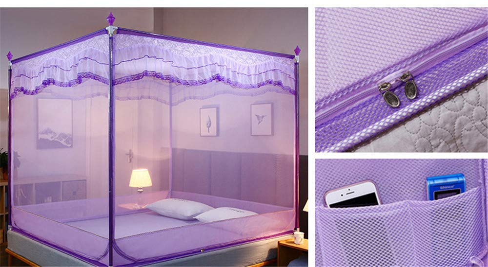 Mosquito net Bedroom Double Bed Insect-Proof Gauze Bills Children's Princess Wind Student Dormitory Summer Decoration Account, Purple, 1.2M by Lostryy-Mosquito Nets Baby (Image #5)