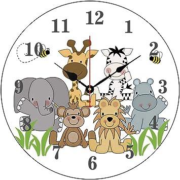 Moonluna Safari Jungle Animals Baby Nursery Kids Room Nursery Wall Clock for Kids Wooden Wall Art Decoration Silent Non Ticking Christmas Clock Gifts 14 Inches