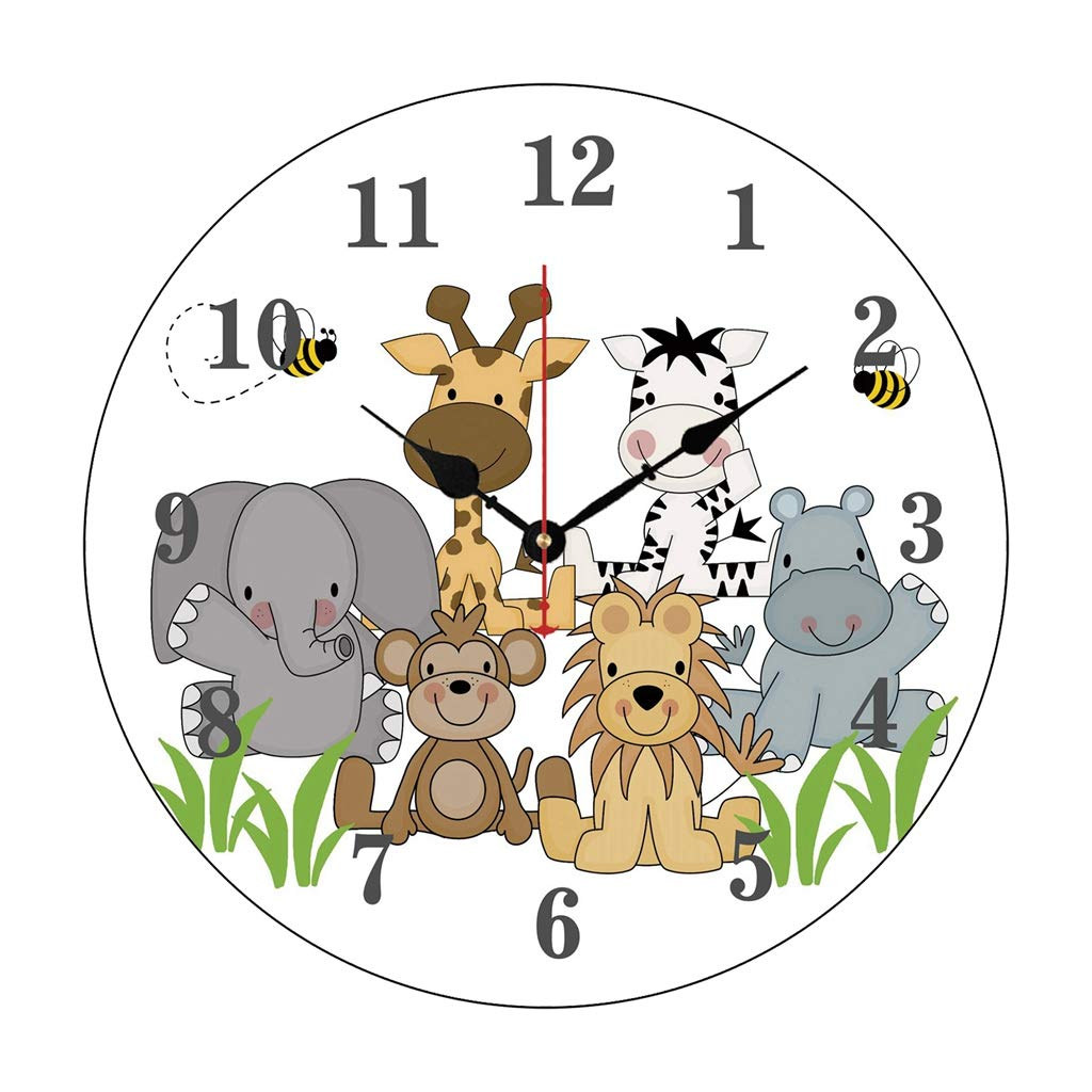 Moonluna Safari Jungle Animals Baby Nursery Kids Room Nursery Wall Clock for Kids Wooden Wall Art Decoration Silent Non Ticking Christmas Clock Gifts 14 Inches