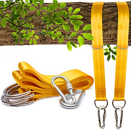 Seater Lounger (Benicci Tree Swing Straps Hanging Kit (Set of 2) - 10ft Long with Two Zinc Alloy Carabiners - 2000Lbs Break Strength - For Swings and Hammocks)