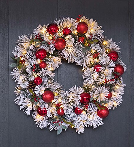 Plow & Hearth Fairfax Lighted Decorated Holiday Wreath, 3...