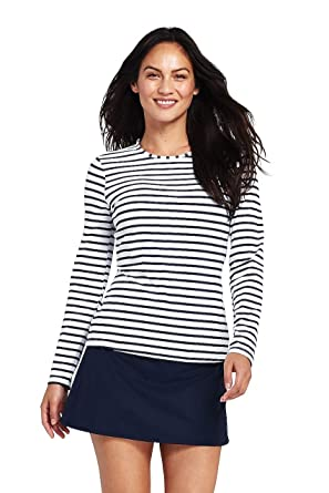 e3d1a1f97 Lands' End Women's Long Sleeve Swim Tee Rash Guard Stripe at Amazon Women's  Clothing store: