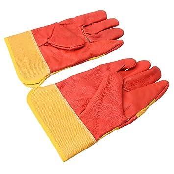 BQLZR - Guantes de soldadura de piel eléctrica, color rojo, amarillo, resistente al calor, 2 unidades: Amazon.es: Bricolaje y herramientas