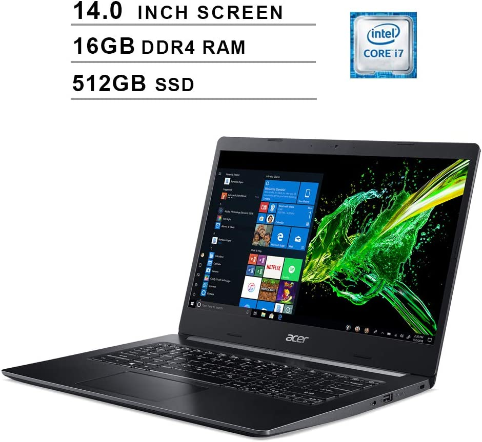 Acer 2020 Aspire 5 Newest 14 Inch FHD 1080P Laptop, 8th Gen Intel 4-Core i7-8565U up to 4.6GHz, Intel UHD 620, 16GB DDR4 RAM, 512GB SSD, Webcam, HDMI, WiFi, Bluetooth, Windows 10 Home