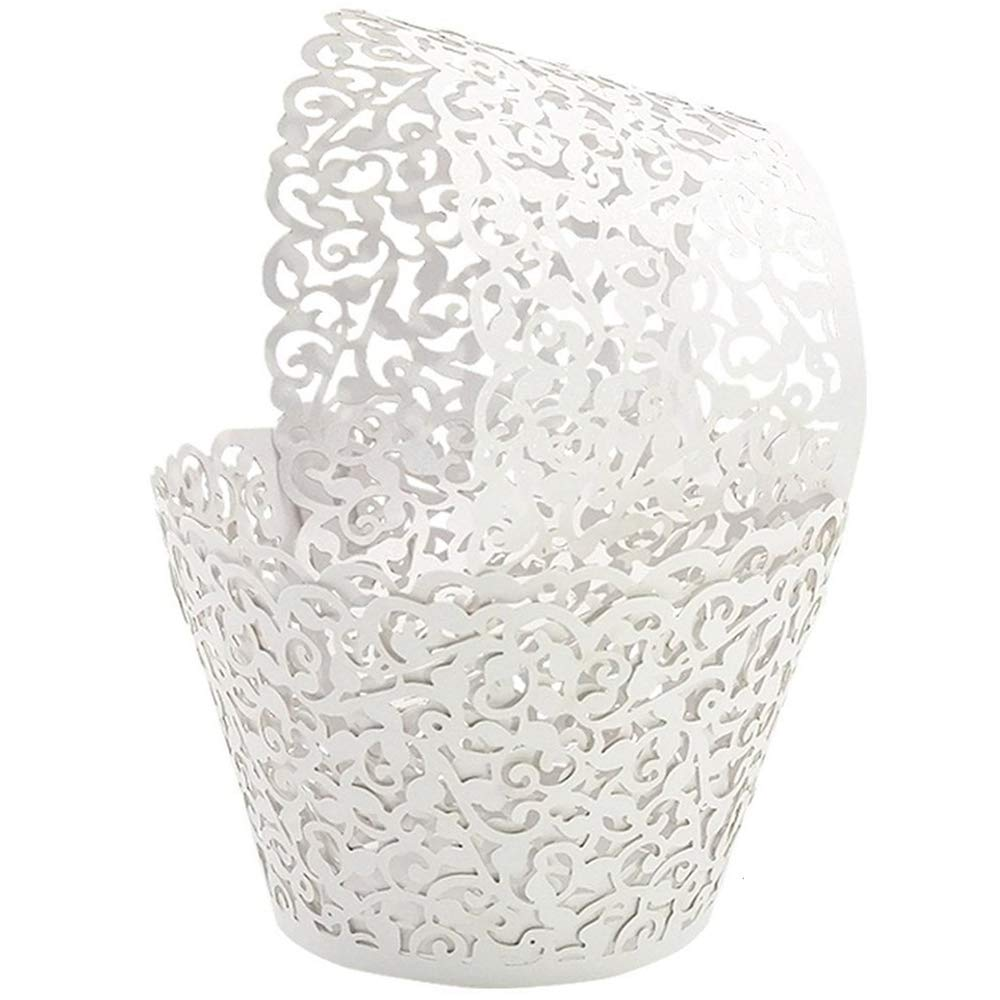 GOLF 100Pcs Cupcake Wrappers | Artistic Bake Cake Paper Filigree Little Vine Lace Laser Cut Liner Baking Cup Wraps Muffin CaseTrays for Wedding Party Birthday Decoration (White) by GOLF
