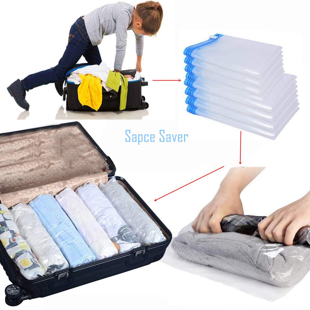 WeTong Compression Bags for Travel 75% Space Saver Bag Reusable Packing Sacks No Vacuum No Pump Needed (4 x Large + 4 x Medium)