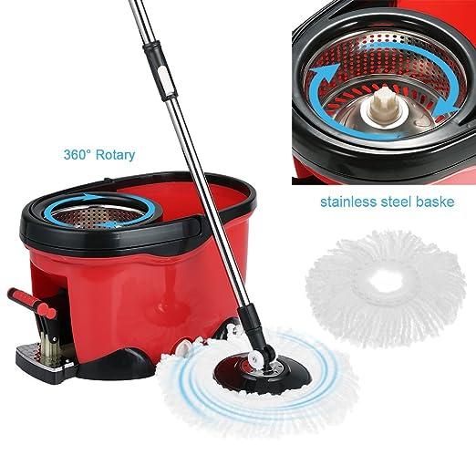 IKAYAA Set de Fregona Giratoria y Cubo con Pedal Juego de Fregona de Microfibra con Cubo de Pedal Color Rojo: Amazon.es: Hogar